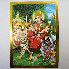 Altarbild Durga, Prägedruck Indien Hinduismus Ma Amba Bild Guru Om Puja 5