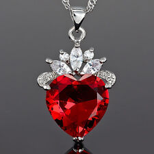 Xmas Lady Fashion Jewel *Heart Cut Red Ruby Pendant Necklace Jewellery For Dress