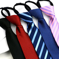 Men Stylish Stripe Grids Checks Zipper Pre-tied Neck Tie Tuxedo Business Necktie