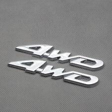 2Pcs Chrome Metal 4WD Off-Road Logo Emblem 4 Wheel Drive Badge Sticker 3D Decal