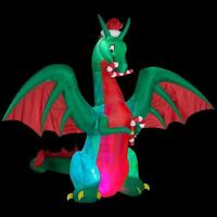 Animated 11.5' Christmas Dragon w Candy Canes Inflatable Airblown Yard Decor