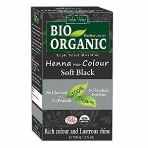 Indus Valley Bio Organic Soft Black Henna Hair Color - 100 gm - Free Shipping