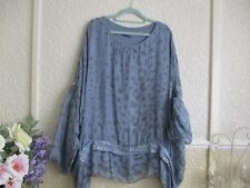 Italian Lagenlook Silk Blend Lined Floaty Blue/Grey Top Size 18/20/22/24/26??