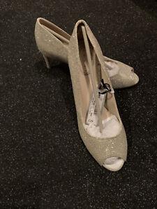Debenhams Gold Peep Toe Shoes Size 5