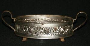 Vintage Art Deco Glass Bowl w/ Metal Floral Holder