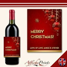 L92 Personalised Merry Christmas Bauble Red Gold Wine Brut Bottle Label - Gift!