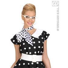 Ladies White Satin Neck Tie Sash With Black Polka Dots 1970'S Fancy Dress