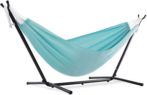 Vivere C9POLY-13 Double Polyester Hammock with Space Saving Steel Stand, Aqua (4