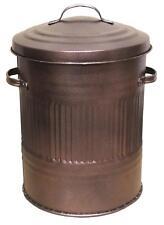 30L Litre Galvanised Metal Bin Rubbish Waste Dustbin Animal Feed Storage BROWN