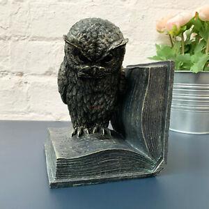 Bronze Effect Resin Barn Owl Home Shelf Sitter Bookend Stopper Decoration Gift
