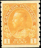 Mint H Canada 1c 1923 F-VF Scott #126 Coil King George V Admiral Stamp