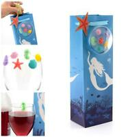 WINE BOTTLE GIFT BAG & Set of 6 Silicone GLASS MARKERS Drink Charms Birthday
