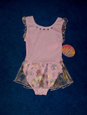 GIRLS PINK GOLD METALLIC GYM SKATE DANCE LEOTARD OUTFIT SIZE 6 - 7 SMALL NWT