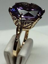 VINTAGE FILIGREE 18K YELLOW GOLD RING, 14 3/4ct. COLOR CHANGE SYNTHETIC CORUNDUM