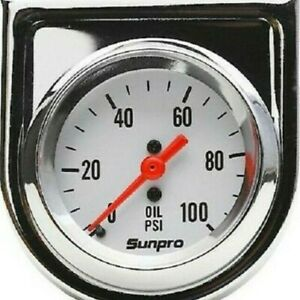 "Sunpro Analog StyleLine Mechanical Oil Pressure Gauge 2"" Dia White Face CP8206"