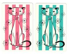 SWAP CARDS / Playing Cards - Vintage Collectable Pair - Cat with stripes