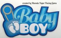 BABY BOY paper piecing TITLE for Premade Scrapbook Pages album cards by Rhonda