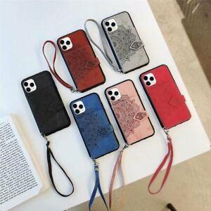 Slim PU Leder TPU Handy Hülle Mit Schlüsselband Für Samsung S20 iPhone 11 Huawei