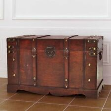 Large Wooden Treasure Storage Trunk Blanket Steamer Chest Vintage Antique Style