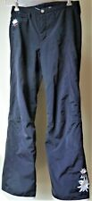 Bogner Black Ski/Snow Board Pants Embroidered Roses Black Ankle Zip Sz 6