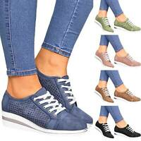 Women's Flat Casual Sneakers Slip On Trainers Loafers Pumps Wedges Shoes Size