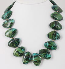 Stones Necklace Fashion 0946B Costume Chunky Heavy Crysocolla