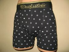 NEW MENS BOYS BLACK SPOTTED TRENDY QUIKSILVER FITTED COTTON BOXERS SMALL 28/32