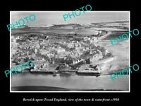 OLD LARGE HISTORIC PHOTO OF BERWICK ON TWEED ENGLAND, THE TOWN & RIVER c1930 1