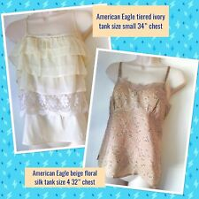 AEO AMERICAN EAGLE OUTFITTERS Lot 2 New XS S Ivory Silk Bld Tank Tops Babydoll