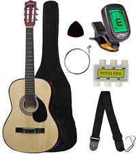 "Crescent 38"" Natural Wood Acoustic Guitar Starter Package w/ Digital E-Tuner"