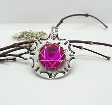 Wire Wrapped Hand Stamped Aluminum Pendant, Pink Crystal Necklace Incl