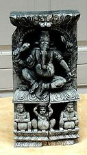 ANTIQUE 18c ASIAN RARE WOOD CARVED TEMPLE ELEMENT GANESHA GOD AND PEOPLE PLAQUE