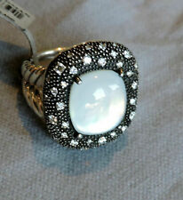 David Yurman 14x12mm Moonstone Melange Black Rhodium Diamonds Cable Ring 8