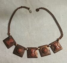 "Vintage Copper Chain Confetti Glitter Inset Square Pendants 15.5"" Necklace"