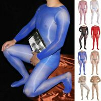 High Gloss Oil Shiny Men Full Bodystocking Bodysuit Tights Pouch Club Underwear