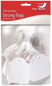 Pack of 100 White Pre Strung Mini Pricing Tags Jewellery Gift Labels 28mm x 43mm