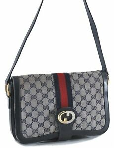 Authentic GUCCI Sherry Line Shoulder Cross Body Bag GG PVC Leather Navy E1310