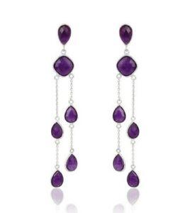 Amethyst Aventurine Gemstone Designer 925 Silver Chandelier Earrings Jewelry