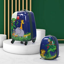 2Pc Kids Carry On Luggage Set Child Suitcase Cute Backpack Storage Bag W/Wheels