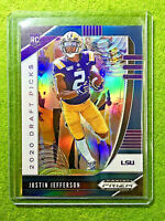 JUSTIN JEFFERSON BLUE PRIZM ROOKIE CARD JERSEY #2 LSU RC 2020 Panini Prizm SP rc