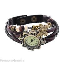 Bohemian Style Women Girls Leather Bracelet Butterfly Quartz Boho Wrist Watches
