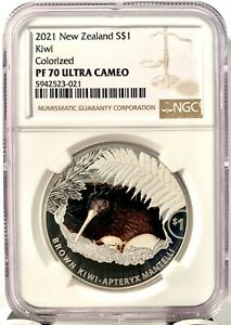 2021 New Zealand $1 Kiwi Colorized Proof 1 oz .999 Silver Coin - NGC PF 70 UCAM
