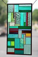 "Contemporary- Stained Glass Window Panel, Hanging 25 3/4"" x 13 3/4"""