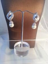 Perla de ensueño Pendientes cristal Latón rodiado NEU