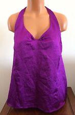 Calvin Klein Womens V-Neck Halter Top Shirt Blouse Purple Size Medium Polyester