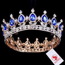 Baroque Crystal Queen Crown Tiara Silver White King Sapphire Princess Stone