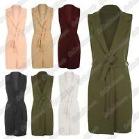 New Ladies Plain Open Crepe Belted Long Waistcoat Sleeveless Italian Jacket Top