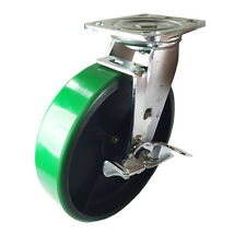 "8"" x 2"" Green Polyurethane on Cast Iron Casters -  Swivel with Brake"