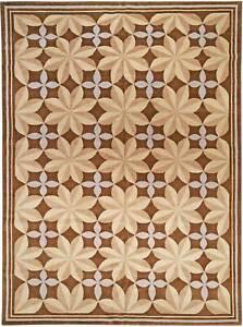 Modern Pinwheel Design Brown and Beige Hand Knotted Wool Rug N10956