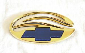97 - 03 CHEVROLET MALIBU / 04-05 CLASSIC 24K GOLD PLATED REAR EMBLEM BLUE BOWTIE